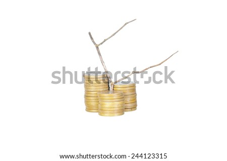 Unprofitable or loss investment concept - Stack of golden coins and dead plant isolated on white.