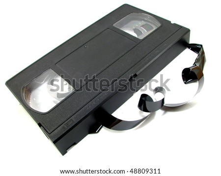 Unraveled VHS Videotape - stock photo