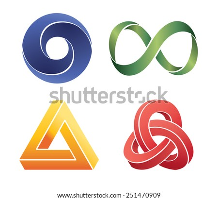 unreal bright geometrical objects - stock photo