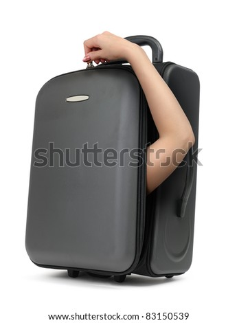 Unreal cool woman's hand suitcase with inside on white background, concept