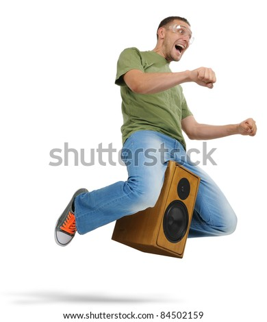 Unreal flying man in goggles sitting on a speaker on white background, motorcycle stylize concept - stock photo