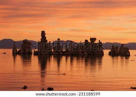 Unreal sunrise at Mono Lake, CA - stock photo