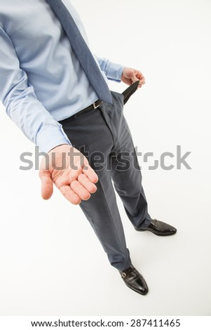Unrecognizable businessman  asking about help, white background