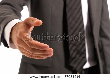 Unrecognizable businessman handshake closeup isolated on white background - stock photo