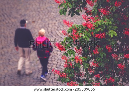 Unrecognizable Elderly Couple Out of Focus Walking on the Street in Sunset, Retro Toned Image - stock photo