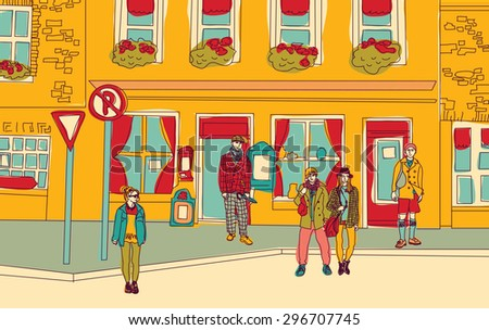 Unrecognizable fashion people walking on the abstract street. Color vector illustration. - stock photo