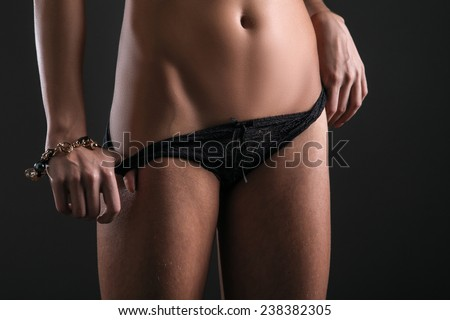 unrecognizable female body before and after removing skin hair - stock photo