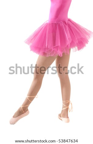Unrecognizable female dancer with tutu isolated on white background. - stock photo