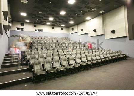 Unrecognizable people in a cinema - stock photo