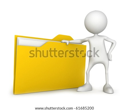 Unrecognizable small people with file. 3D high quality render. Image isolated on white background. - stock photo