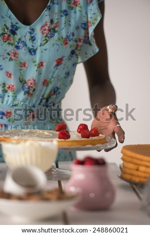 Unrecognizable Woman Cooking at home. Dessert Concept. Healthy Lifestyle. Cooking At Home. Prepare Food - stock photo