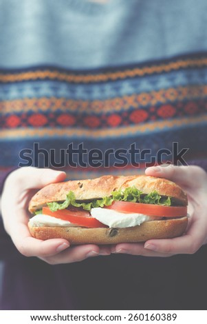 Unrecognizable woman holds sandwich - stock photo