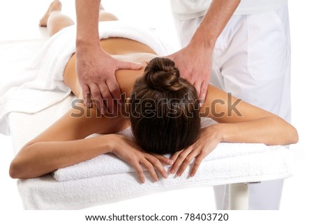 Unrecognizable woman receiving massage relax treatment close-up from male hands - stock photo