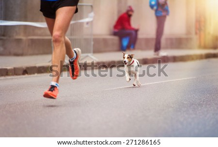 Unrecognizable young runner and a dog at the city race - stock photo