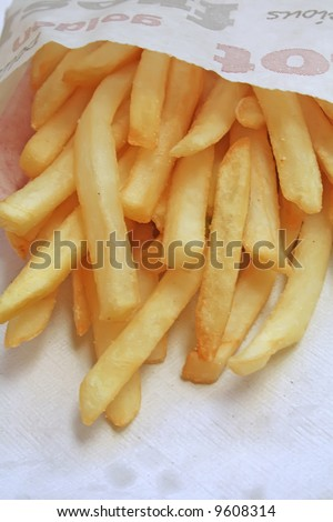 Unsalted french fries, the ultimate fast food side dish. - stock photo