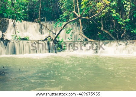 unseen Noppiboon Waterfall in Sangkhlaburi Kanchanaburi Thailand,beautiful,soft focus,vintage tone
