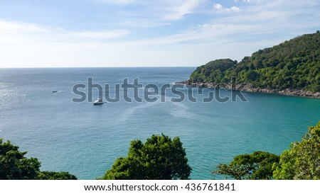 Unseen perspective beautiful viewpoint of island in the sea in clear blue sky day. Tropical island. Thailand. Summer time concept. - stock photo