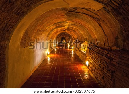 Unseen Thailand the old tunnel of Wat Umong Suan Puthatham temple in Chiang Mai, Thailand - stock photo