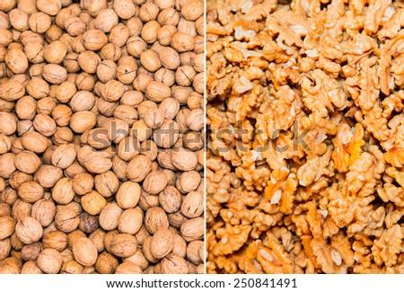 unshelled walnuts and Walnuts in shells - stock photo