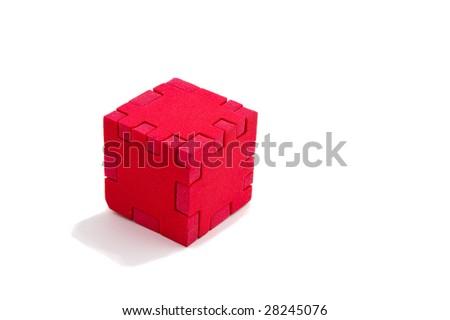 Unsolved puzzle isolated on white background - stock photo