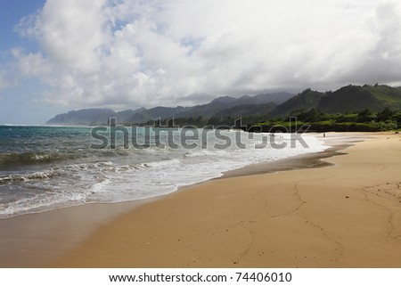 Unspoiled north shore beach in Oahu, Hawaii - stock photo