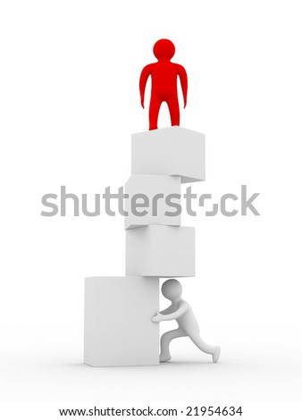 Unstable balance. Isolated 3D image on white background.