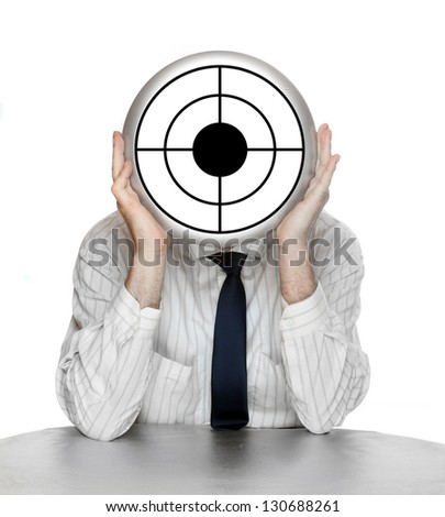 Unsuccessful manager (politician, boss, worker, etc) with shooting target. Funny picture from the office. - stock photo