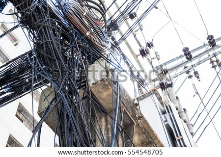 Untidy electricity cable is very look terrible and confused, it is dangerous