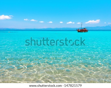 Untouched nature abstract archipelago in seashore with rocks in water on peninsula Halkidiki, Greece  - stock photo