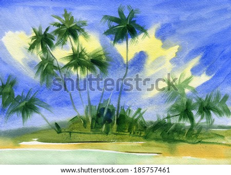 Untouched tropical beach. Watercolor. - stock photo