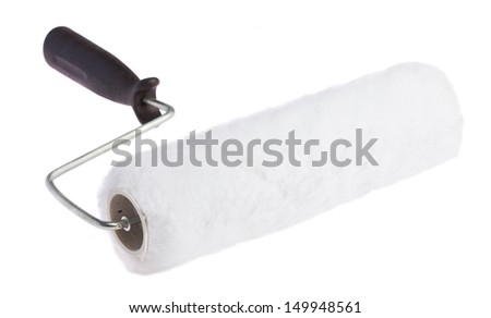 unused paint roller on a white background - stock photo