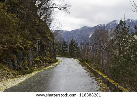 unused, run-down road in rural landscape - norway