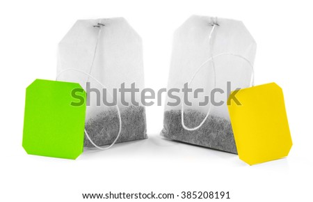 Unused teabags isolated on white background - stock photo