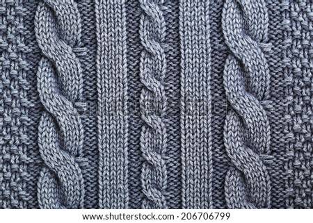 Unusual Abstract blue knitted pattern background texture - stock photo