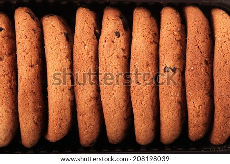 unusual abstract chocolate chip cookies background texture - stock photo