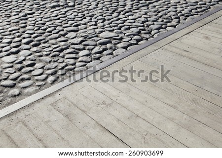 Unusual abstract old stone road background texture  - stock photo