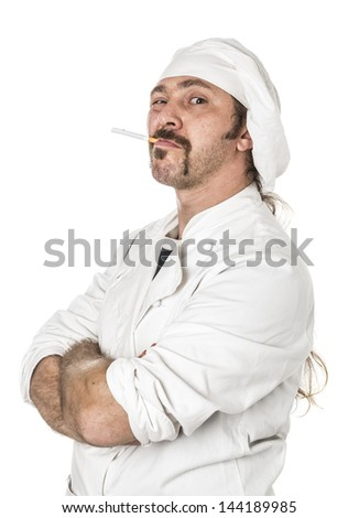 Unusual angry chef with a cigarette