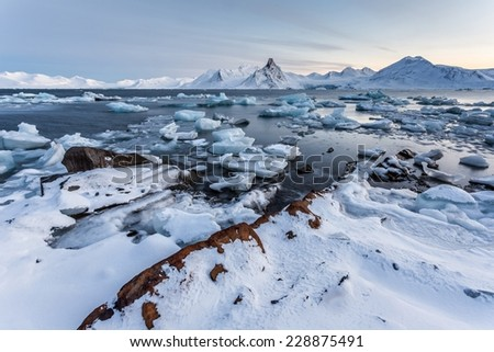 Unusual Arctic ice world - Spitsbergen, Svalbard - stock photo