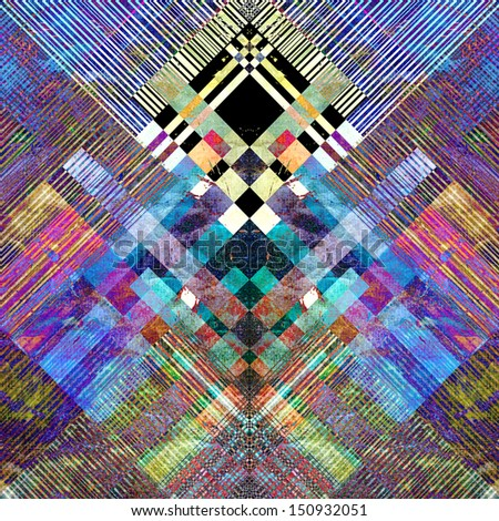 unusual bright colorful geometric abstract pattern of different stripes - stock photo
