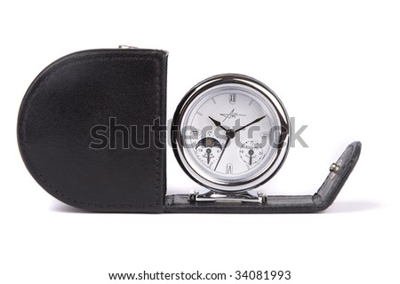 Unusual business clock with leather case isolated on white