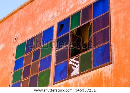 Unusual colorful windows in the Marrakech Medina - stock photo
