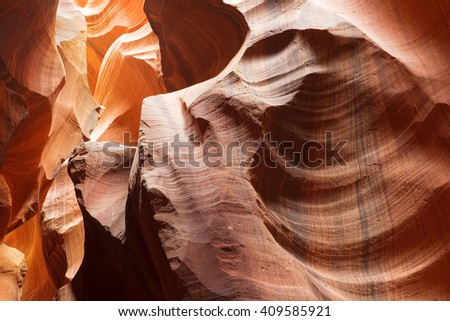 unusual geological formations in Antelope Canyon, Navajo parks, Arizona, slot canyon in the american southwest - stock photo