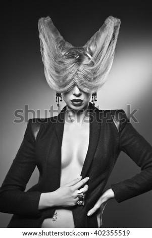 unusual hairstyle - stock photo