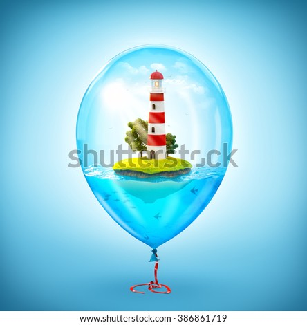 Unusual illustration of fantastic little island with lighthouse in the ocean inside of Inflatable air balloon - stock photo