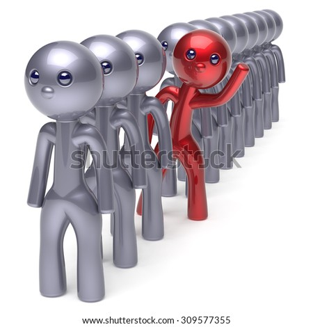 Unusual individuality man character stand out from crowd men stylized different people unique red think differ person otherwise hello new opportunities concept human resources icon 3d render isolated - stock photo