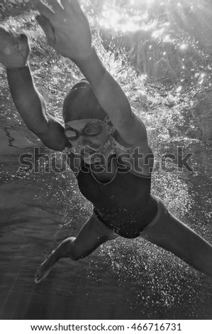 Unusual perspective of female swimmer underwater