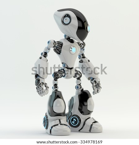 Unusual robot with long head - stock photo