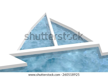 unusual sailing boat ice icon in ocean water - stock photo