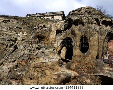 Unusual sandstone formations situated below Nottingham castle