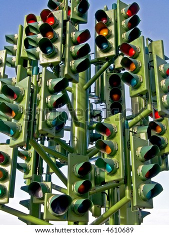 Unusual traffic signs with lot of lights - stock photo